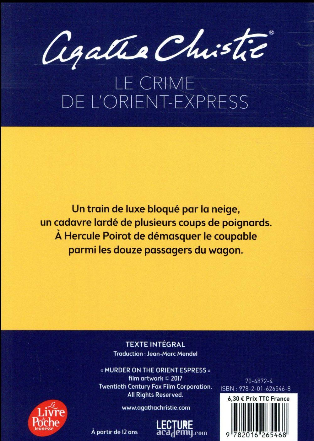 Le Crime De L'orient Express Livre : crime, l'orient, express, livre, Crime, L'orient-express, Affiche, Couverture, Agatha, Christie, Hachette, Jeunesse, Poche, Livre, NANCY