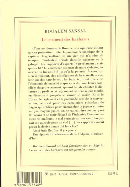 Boualem Sansal Le Serment Des Barbares : boualem, sansal, serment, barbares, Serment, Barbares, Boualem, Sansal, Gallimard, Grand, Format, Livre, NANCY