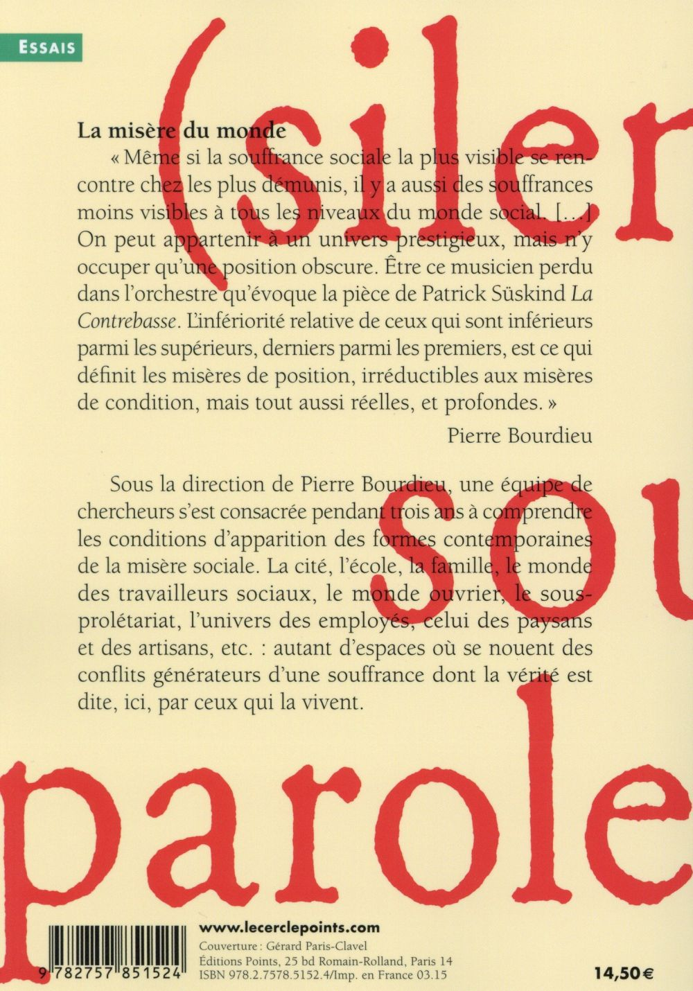 Bourdieu La Misère Du Monde : bourdieu, misère, monde, Misère, Monde, Pierre, Bourdieu, Points, Poche, Place, Libraires