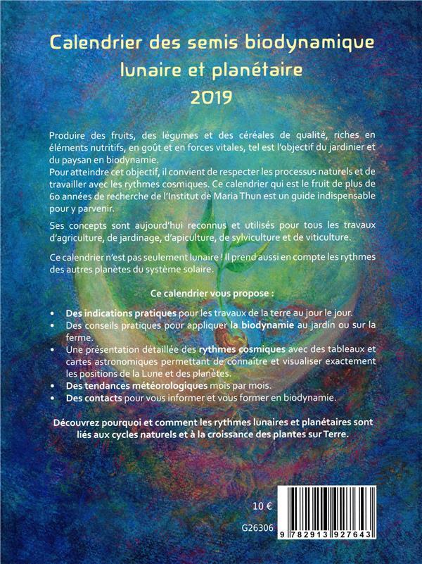 Calendrier Des Semis Biodynamique 2019 : calendrier, semis, biodynamique, Calendrier, Semis, Biodynamique, (édition, 2019), Mathias, Thun,, Maria, Dynamique, Papeterie, Coloriage, Livre, NANCY