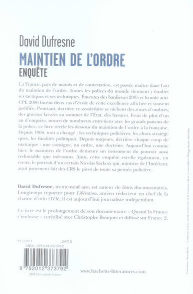 David Dufresne Maintien De L'ordre : david, dufresne, maintien, l'ordre, Maintien, L'ordre, Didier, Dufresne, Hachette, Litteratures, Grand, Format, Livre, NANCY