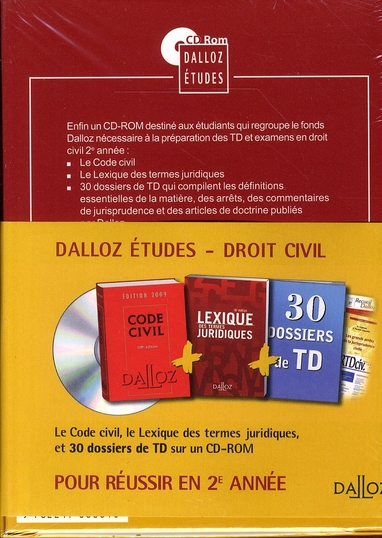 Droit Civil ; L2 (édition 2009) - Collectif - Dalloz - Livre + CD-ROM -  L'Alinéa MARTIGUES