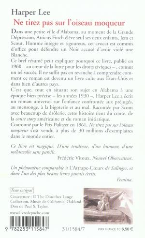 Harper Lee Ne Tirez Pas Sur L'oiseau Moqueur : harper, tirez, l'oiseau, moqueur, Tirez, L'oiseau, Moqueur, Harper, Librairie, Generale, Francaise, Poche, Gallimard, PARIS