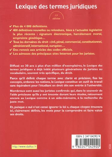 Lexique De Termes Juridiques ; 13e Edition 2001 - Serge Guinchard - Dalloz  - Grand Format - Le Hall Du Livre NANCY