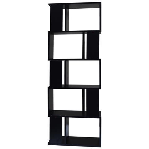 169 x 60 x 24 cm. Mobili Rebecca Libreria Scaffale 5 Ripiani Legno Nero Stile Moderno Ufficio Eprice