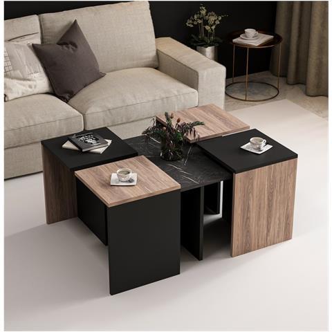 Perchè spendere di più sui tavolini da salotto? Homemania Tavolino Basso Da Caffe Owen Componibile Salvaspazio Con Ripiani Da Salotto Divano Nero In Legno 88 X 74 X 12 2 Cm Eprice