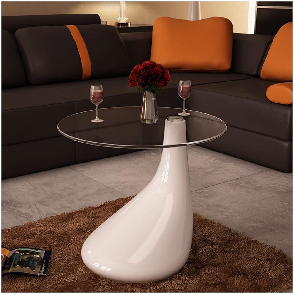 Che salotto sarebbe senza un tavolino da divano? Vidaxl Tavolino Da Salotto Moderno In Vetro Design A Goccia Colore Bianco Eprice