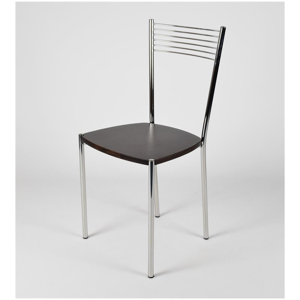 Tommychairs Set 4 Sedie Per Cucina E Sala Da Pranzo Moderne Con Robusta Struttura In Acciaio Cromato E Seduta In Legno Color Wengé Set Composto Da