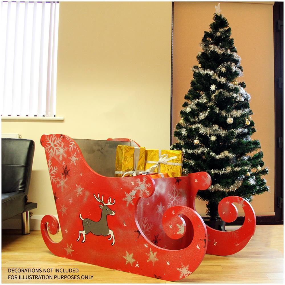 Monstershop Slitta Di Babbo Natale Per Natale 120cm Semplice Senza Disegni In Legno Mdf Spesso 18mm Da Montare