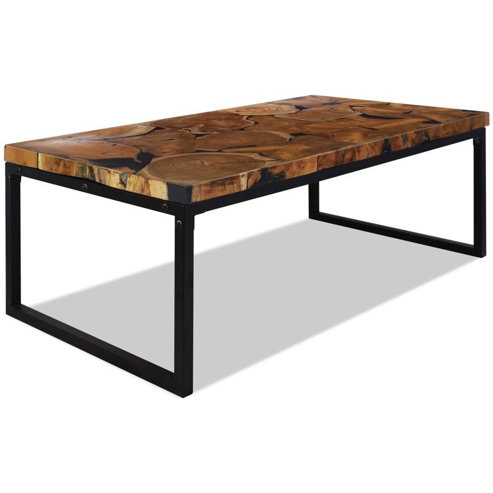 Vidaxl Tavolino Da Caffè In Legno Di Teak E Resina 110x60x40 Cm