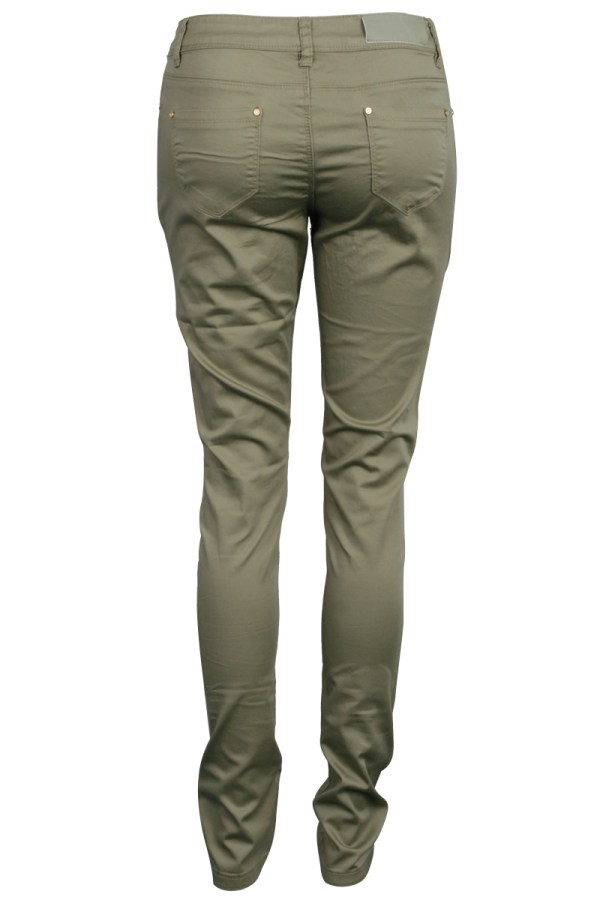 Womens Skinny Fit Ladies Khaki Green Cotton Pants Jeans Style Trousers Size 6-16
