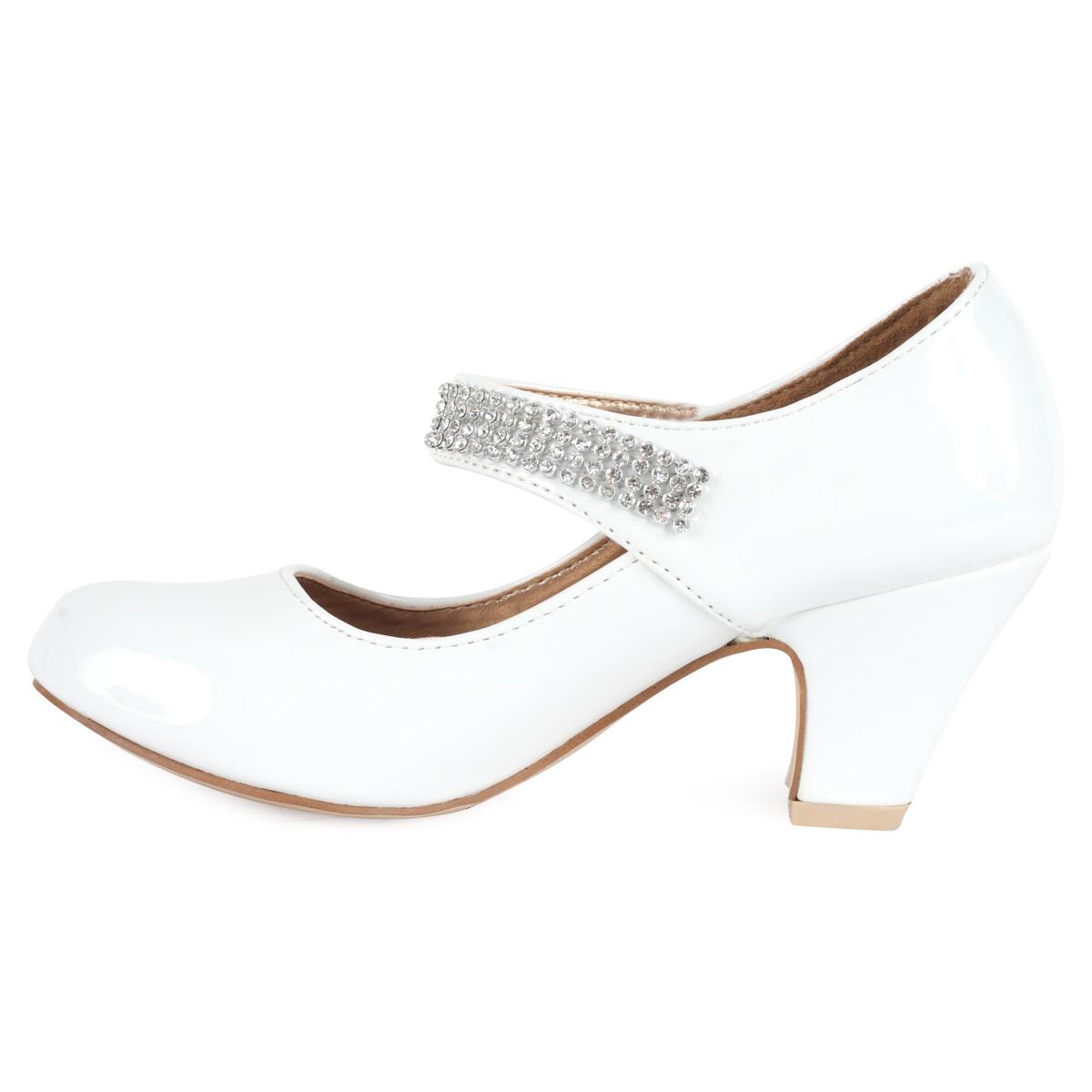 Kids Patent White Girls Small Heel Diamante Mary Jane