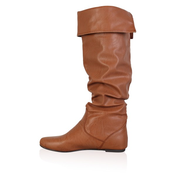 Womens Brown Faux Leather Ladies Slouch Flat Over Knee High Boots Size 3-8