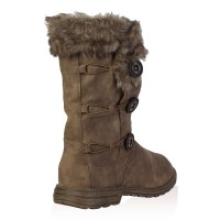 Ladies Soft Faux Fur Lined Womens Button Winter Snow Calf ...