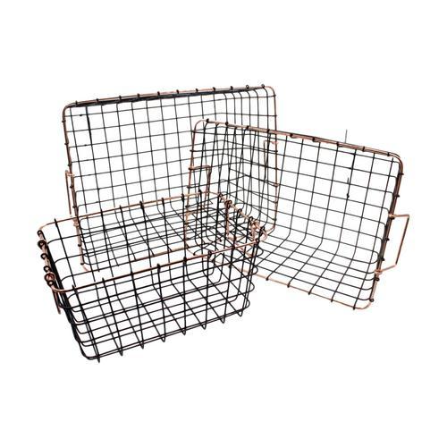 Square Black & Copper Retro Wire Storage Baskets