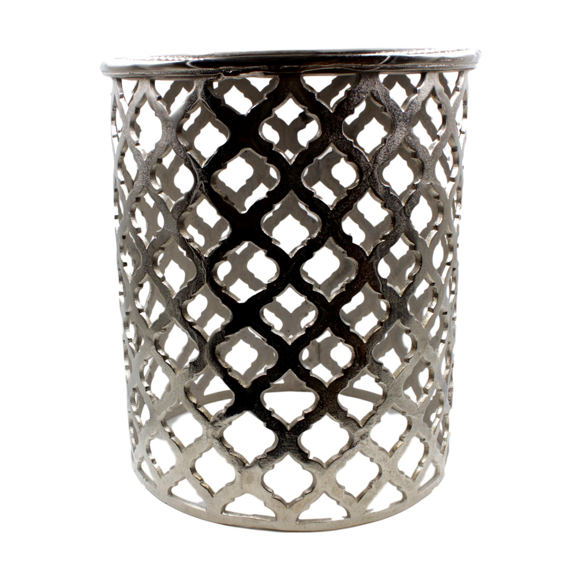 Round Moroccan Style Silver Cast Aluminium Side Table