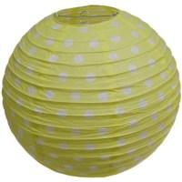 Polka Dot Ribbed Paper Lamp light shade in Yellow 38cm