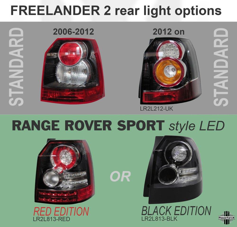 medium resolution of led sport style rear lights smoked land rover freelander 2