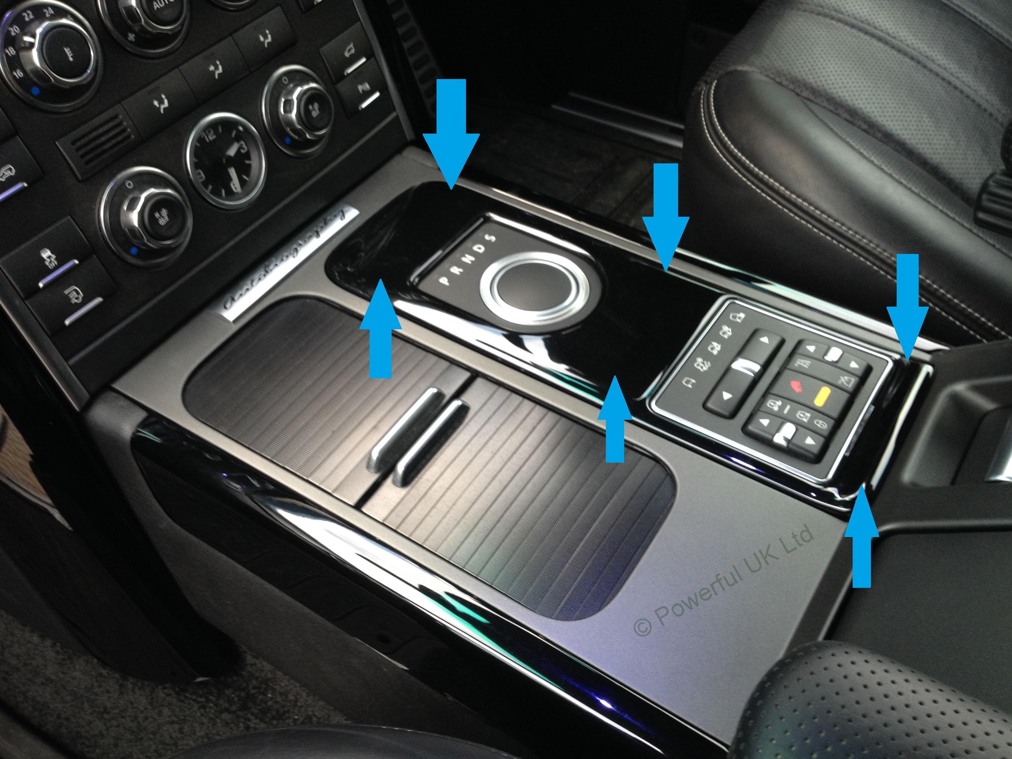 Carbon Fiber Center console interior gear selector panel fascia