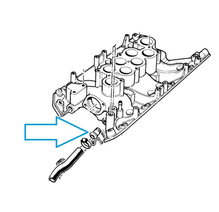 Land Rover/Range Rover V8 engine heater hose connector