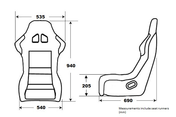 Front Seats Defender Heated pair Black Svx style reclining