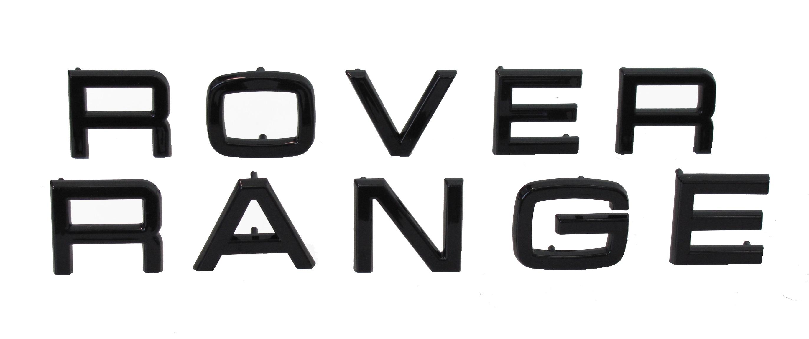 Black Lettering original pin type Range Rover Classic bonnet font