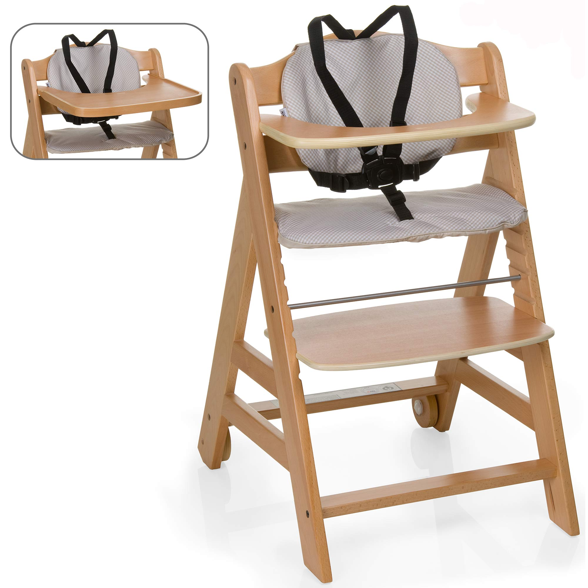 Wooden High Chair Hauck Natural Beta 43 Go With You Wooden Highchair Baby