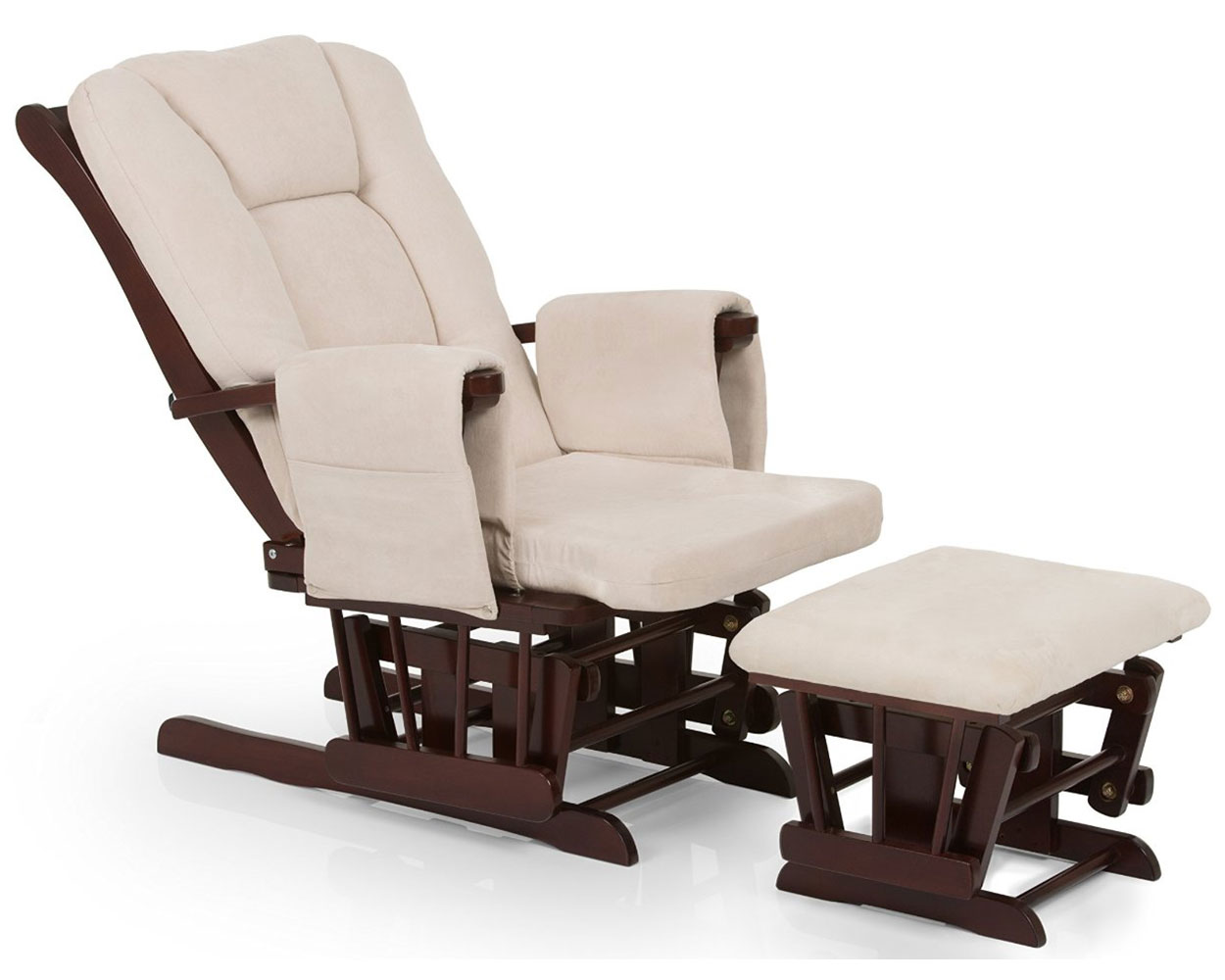 HAUCK WOODEN GLIDER DELUXE WALNUT NURSING CHAIR NURSERY
