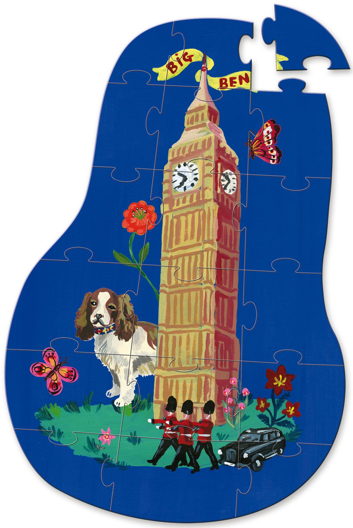Vilac London 3 Wooden Puzzles Toddler Child Jigsaw Activity Box Beginner