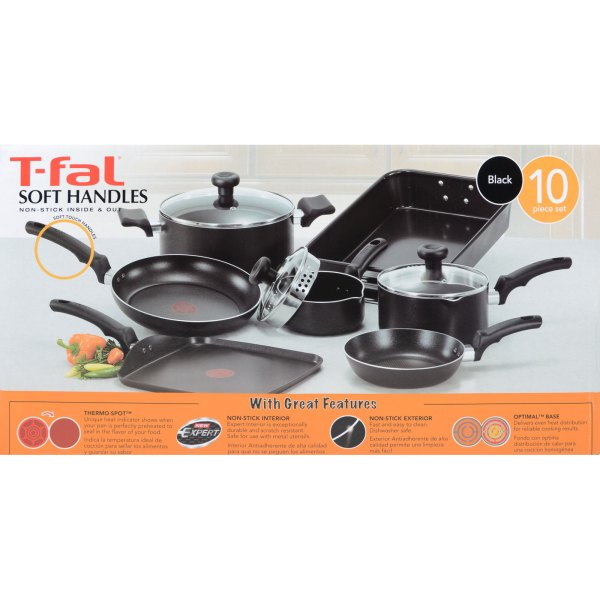 T-fal Black Soft Handles Stick 10pc Cookware Set With