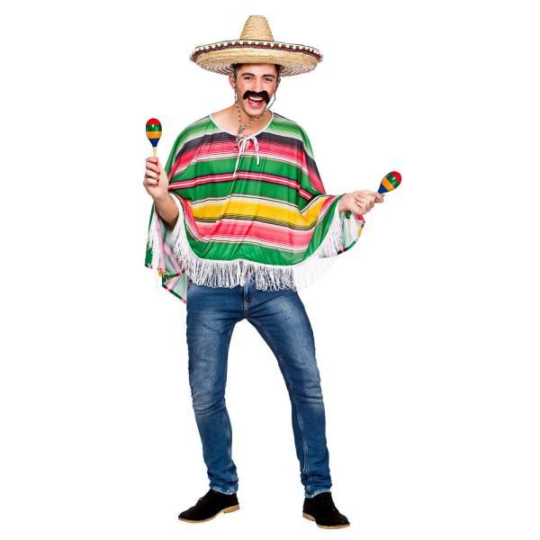 Adults Mexican Bandit Poncho Fancy Dress Costume