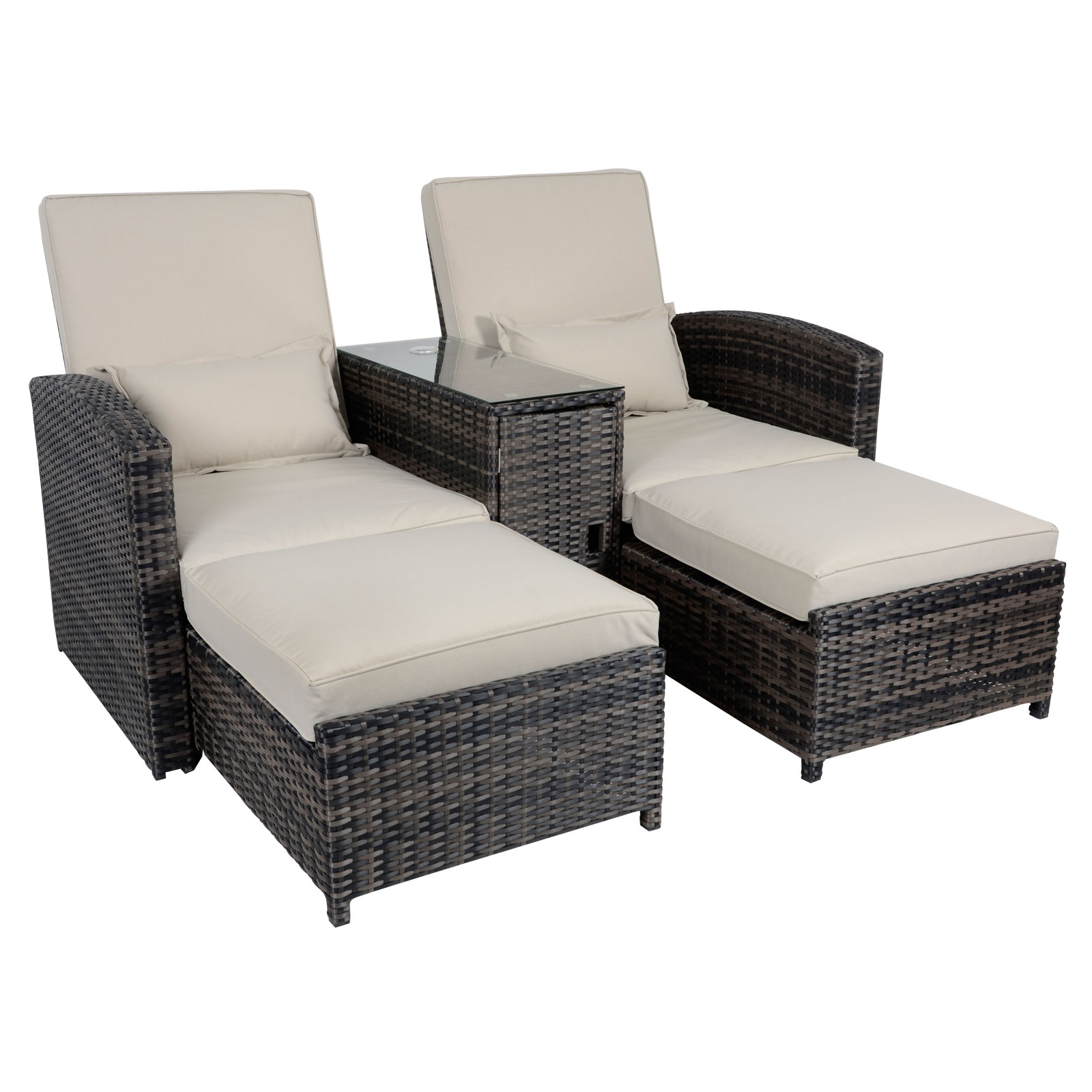 aluminium reclining garden chairs uk chair leg covers home depot antigua rattan companion double