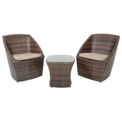 2 Chairs And Table Rattan Handicap Lift Stairs Lazio Brown Bistro Set Coffee Wicker