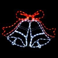 Swinging White & Red LED Christmas Bell Rope Light Indoor ...