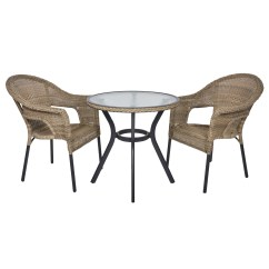2 Chair Bistro Set Metal Folding Covers Wedding Havana Rattan Wicker Seat Garden Patio Furniture