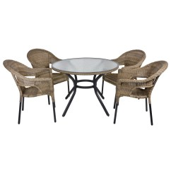 Rattan Garden Chairs And Table Kartell Mademoiselle Chair Havana Wicker Dining 4 Seat Patio Furniture