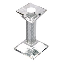 Glass Square Pillar Candle Holder With Silver Glittery ...