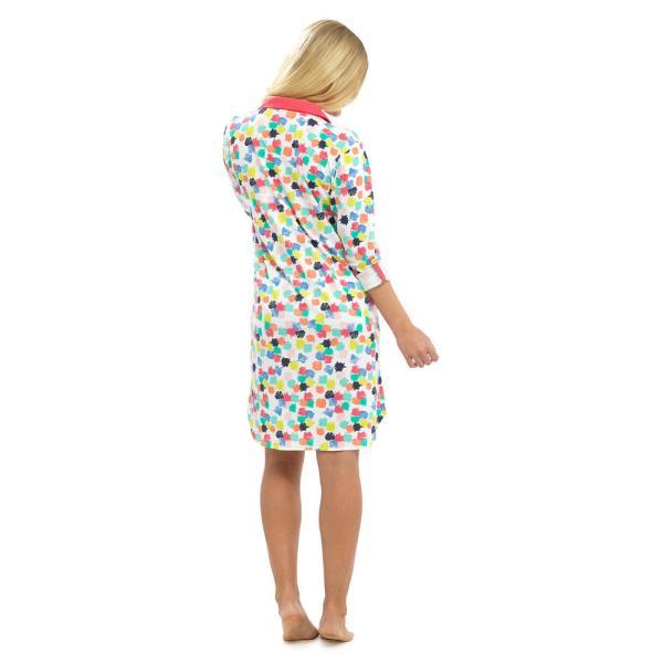 Ladies Cotton Summer Nightshirt Button Front Night Dress