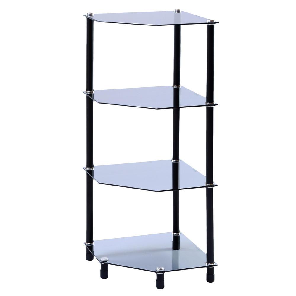 Glass Corner Shelf Shelving Display Unit Storage Furniture