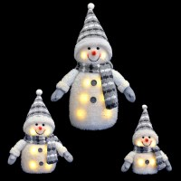 Blue/Grey Light Up Snowman Decoration Novelty Christmas ...