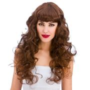 womens foxy brown long curly wig