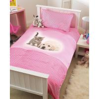 Childrens Pink Puppy & Kitten Single Bed Duvet Cover