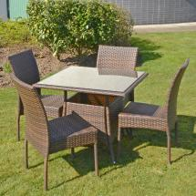 Brown Wicker Patio Dining Furniture