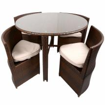 Round Dining Table with Wicker Chairs