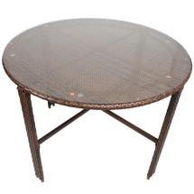 Round Glass Top Dining Table with Wicker