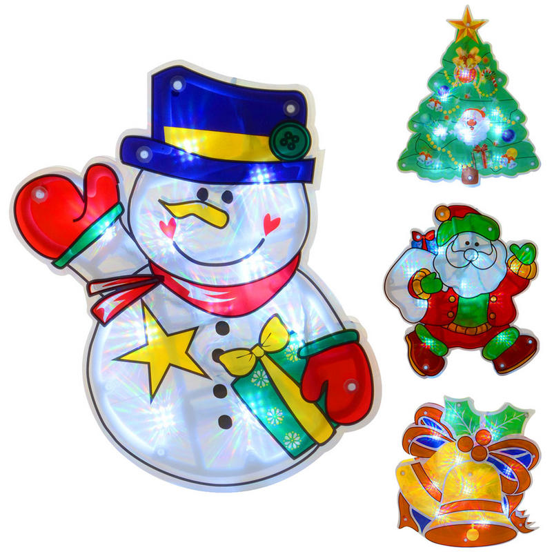 Light Up Battery Operated PVC Christmas Silhouette Window