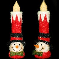 80cm Light Up Tinsel Snowman Candle Indoor Christmas