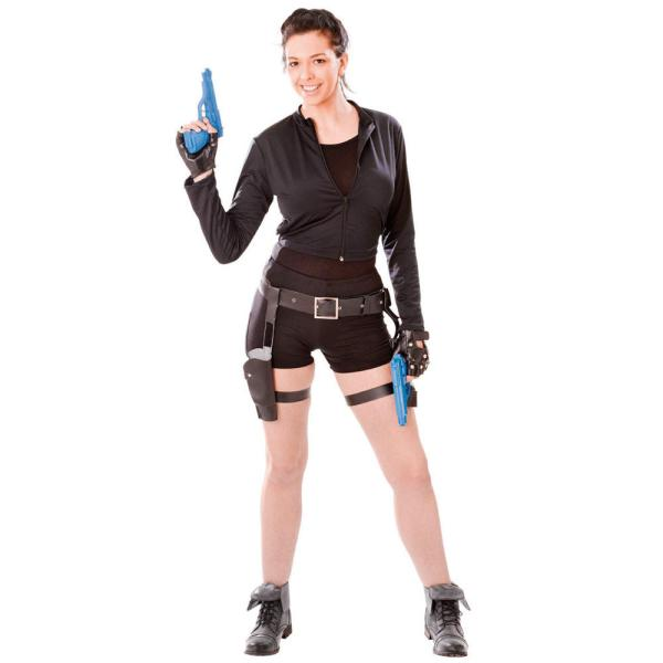Ladies Black Fancy Dress Jacket Tomb Raider Lara Croft