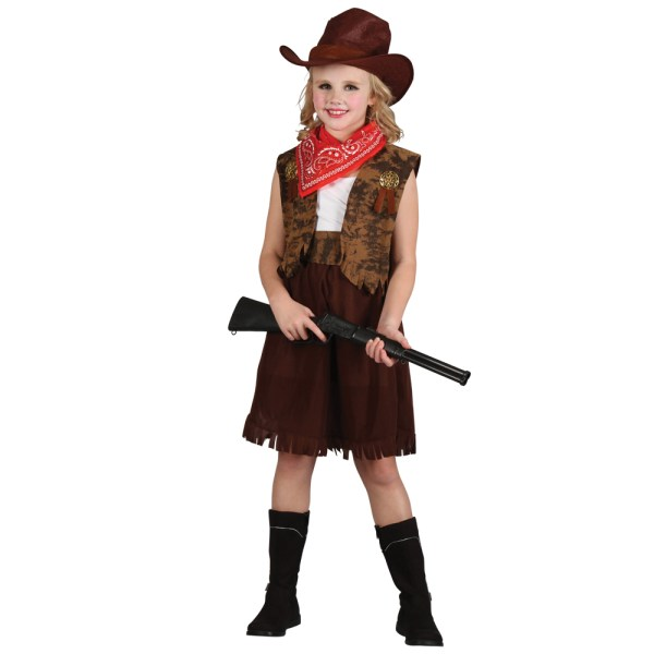 Girls Western Cowgirl Sheriff Gunslinger Fancy Dress Wild