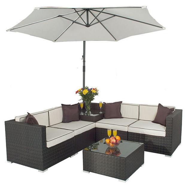 seville corner sofa set with parasol rattan wicker garden furniture - Garden Furniture Corner Sofa
